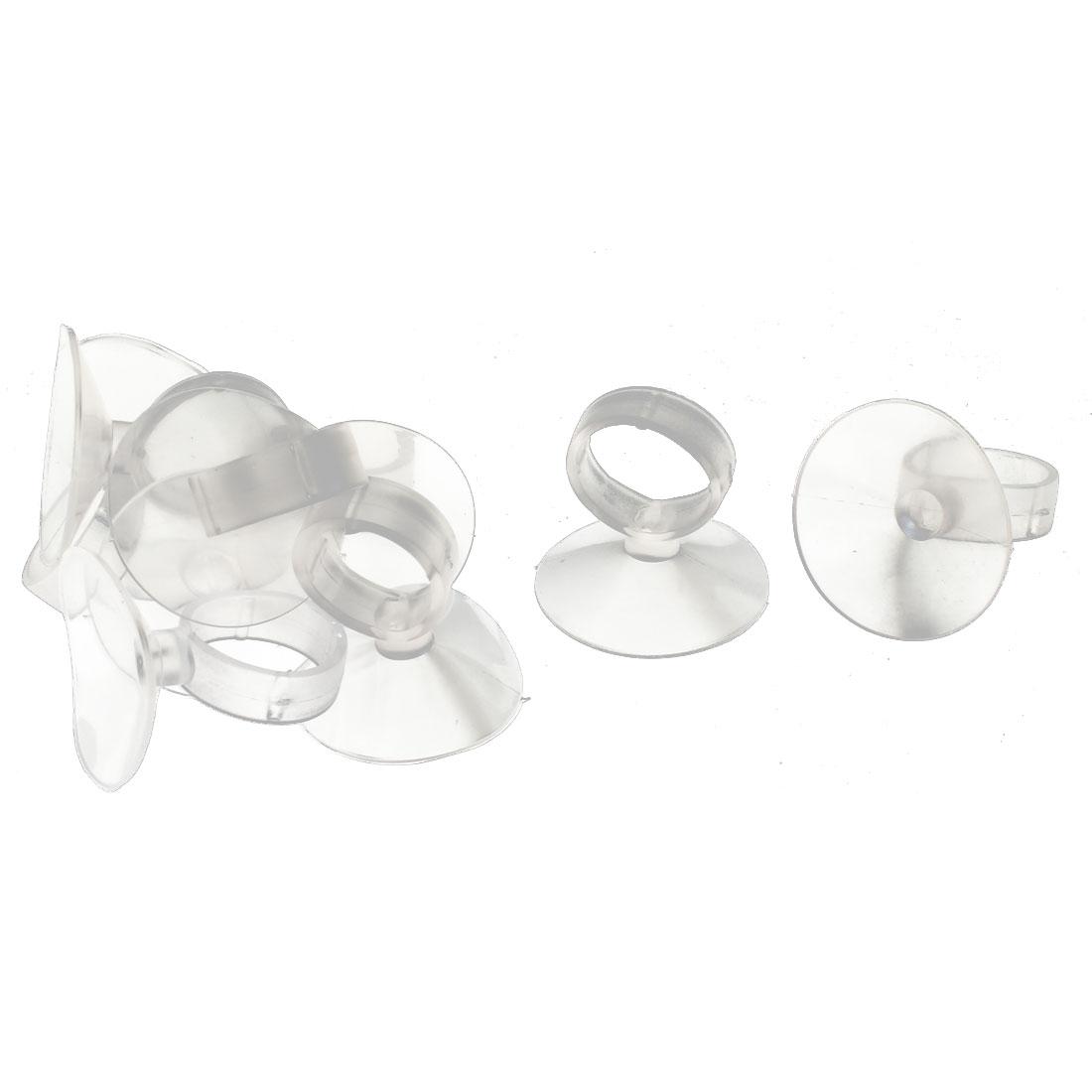 10 Pcs 45mm Dia Clear Plastic Aquarium Fish Bowl Air Line Tube Hose Suction Cup Holders