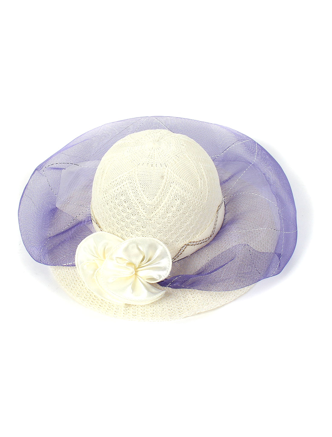 Lady Flower Decor Brim Straw Braided Summer Sun Beach Skimmer Boater Hat Purple