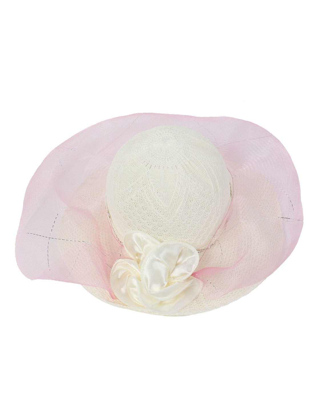 Lady Pink Flower Decor Brim Straw Braided Summer Sun Beach Skimmer Boater Hat