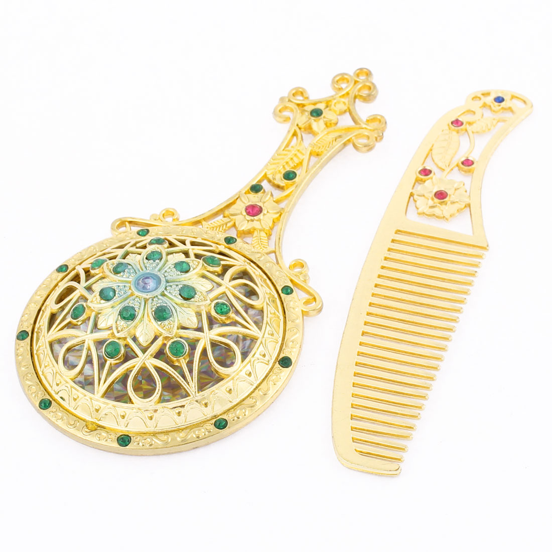 Flower Shaped Faux Rhinestone Decor Handheld Makeup Mirror Comb Set Gold Tone