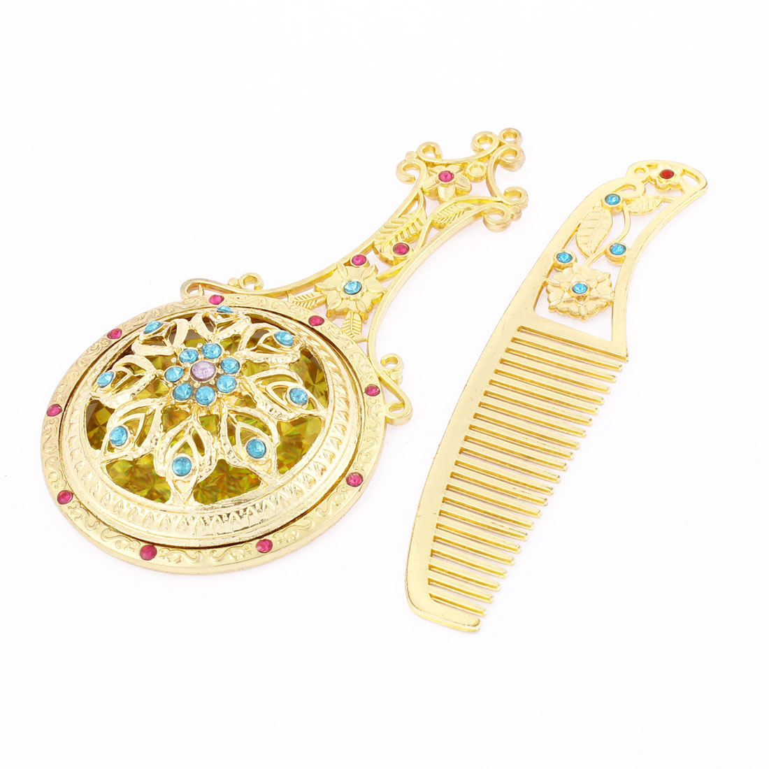 Flower Pattern Cosmetic Wedding Faux Rhinestone Decor Handheld Makeup Compact Mirror Comb Set Gold Tone