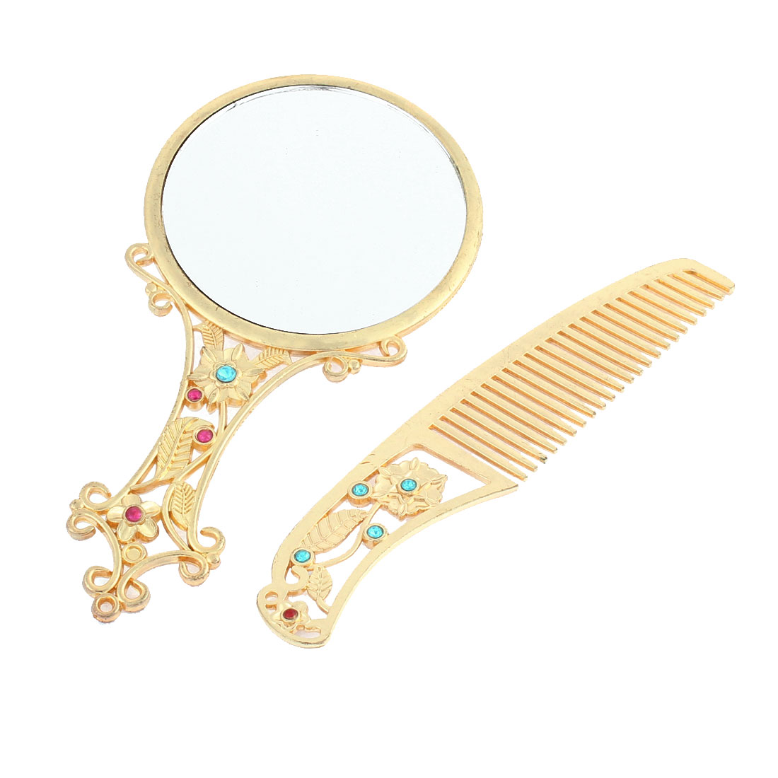 Woman Portable Dome Shape Handheld Makeup Cosmetic Mirror Comb Set Gold Tone