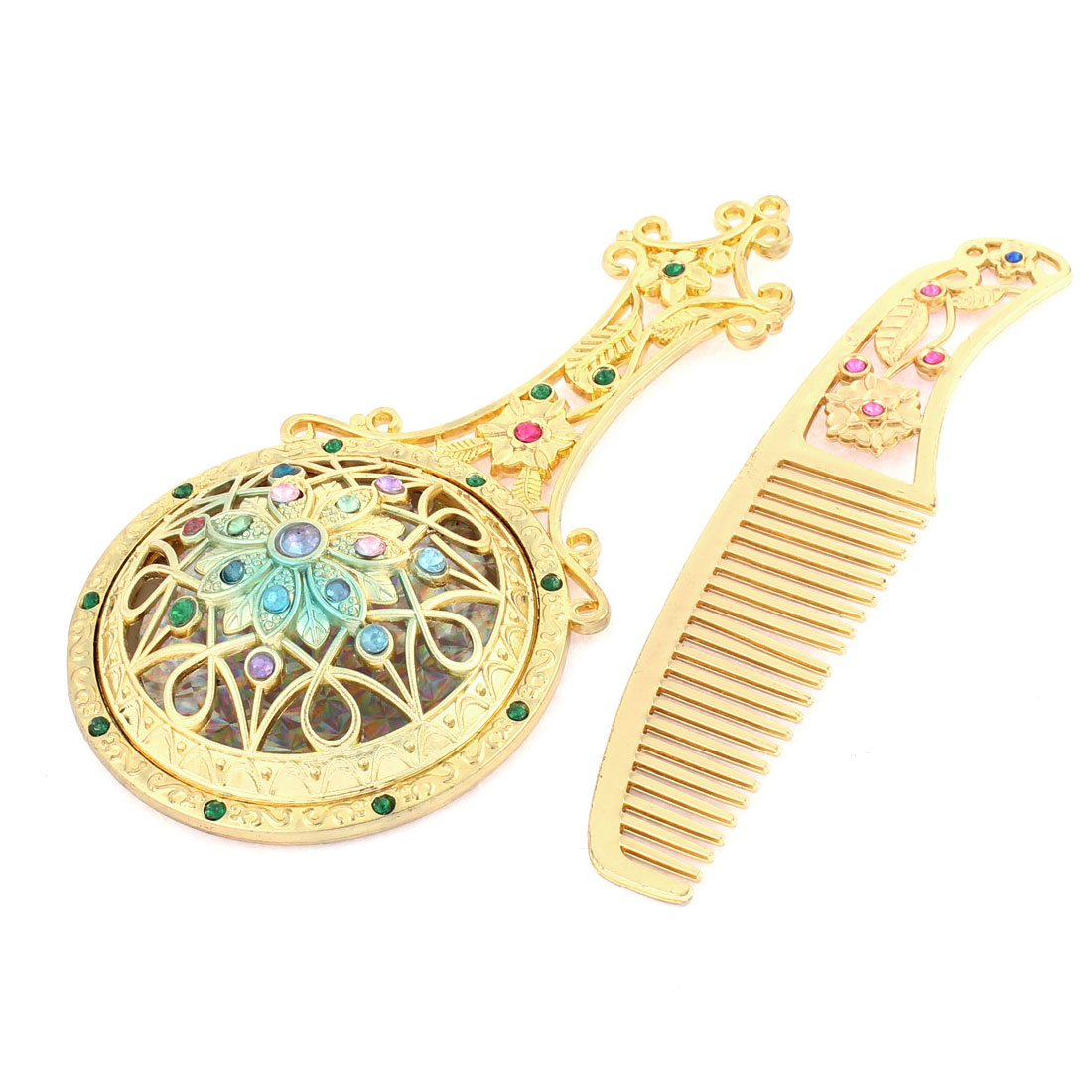 Flower Shaped Faux Rhinestone Decor Handheld Makeup Mirror Comb Set