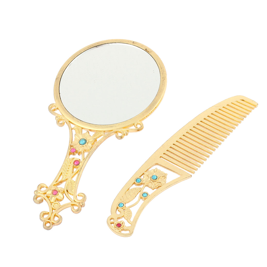 Flower Shaped Handheld Normal Beauty Makeup Cosmetic Compact Mirror Comb Set Gold Tone