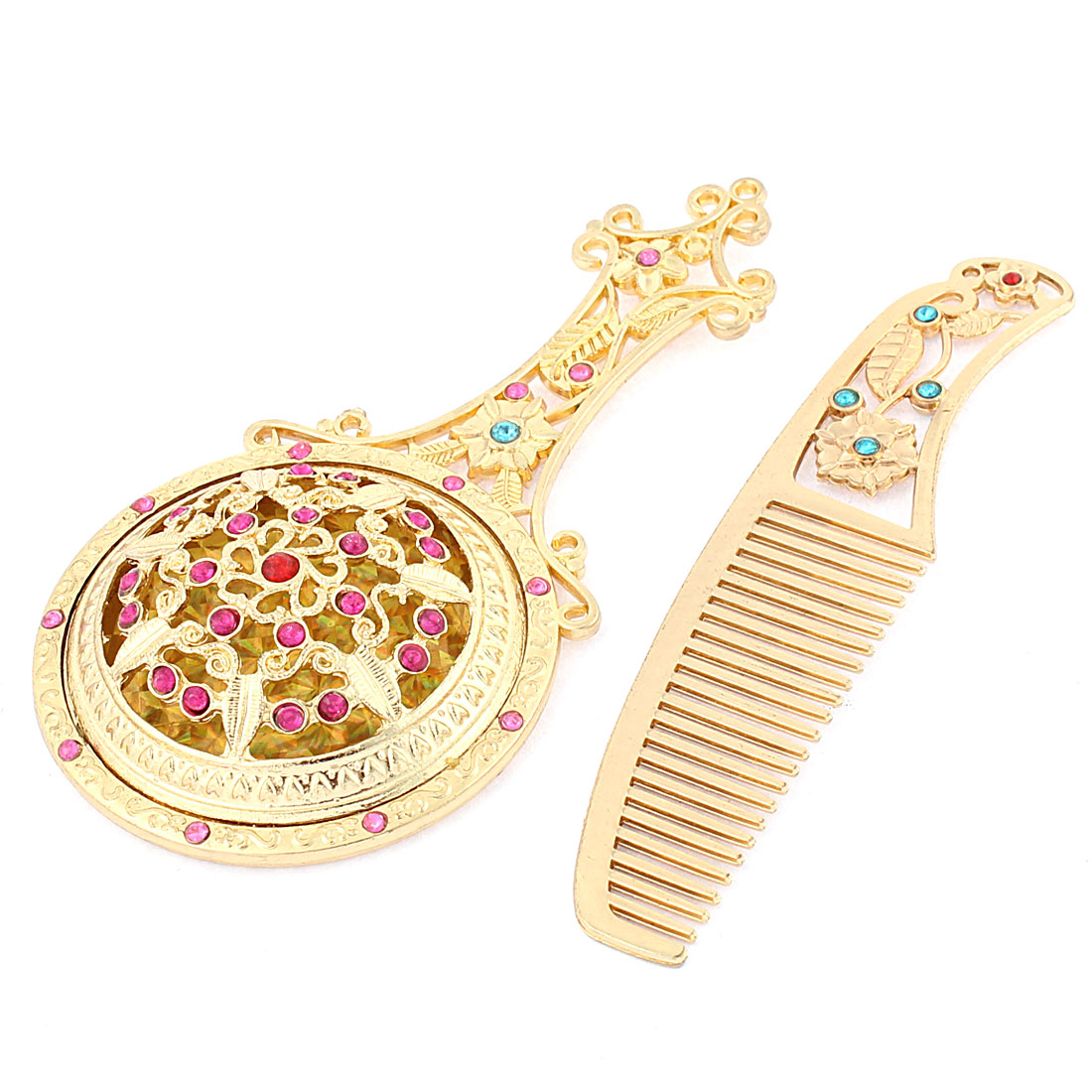 Lady Flower Leaf Shaped Faux Rhinestone Decor Handheld Cosmetic Mirror Comb Set