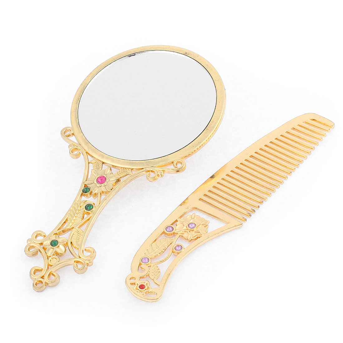 Flower Heart Shaped Faux Rhinestone Decor Handheld Cosmetic Mirror Comb Set