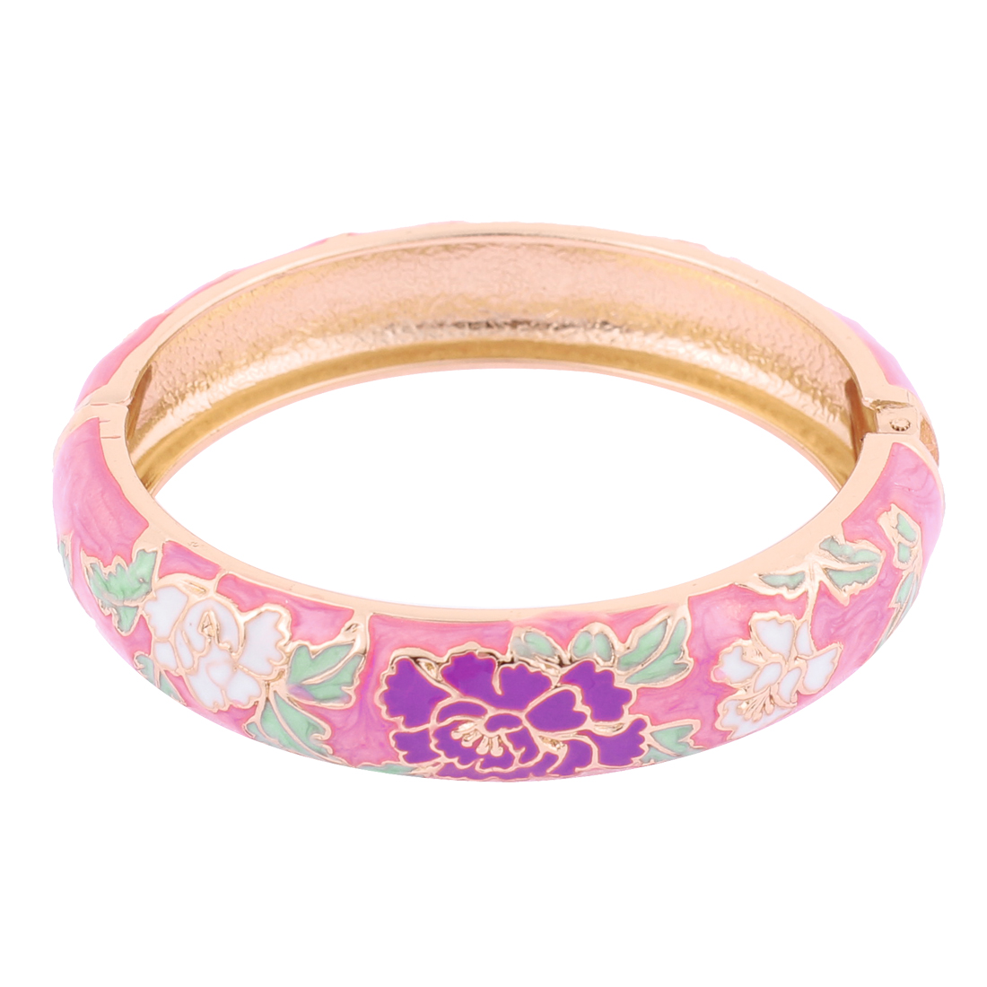 Women Flower Spring Hinge Cuff Enamel Hinged Bangle Bracelet Gift Pink