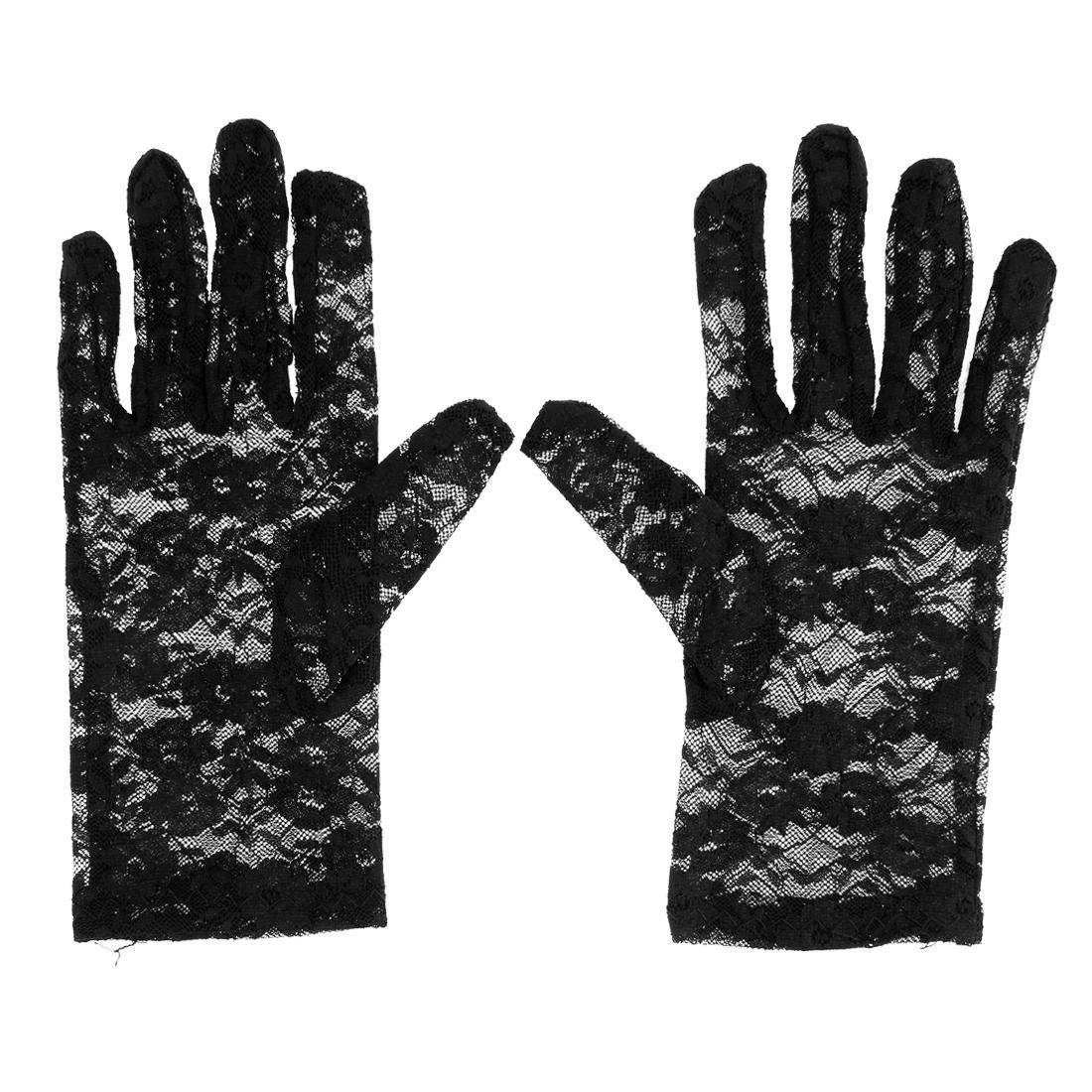 Women Full Finger Flower Lace Bridal Prom Wedding Driving Wrist Gloves Black Pair