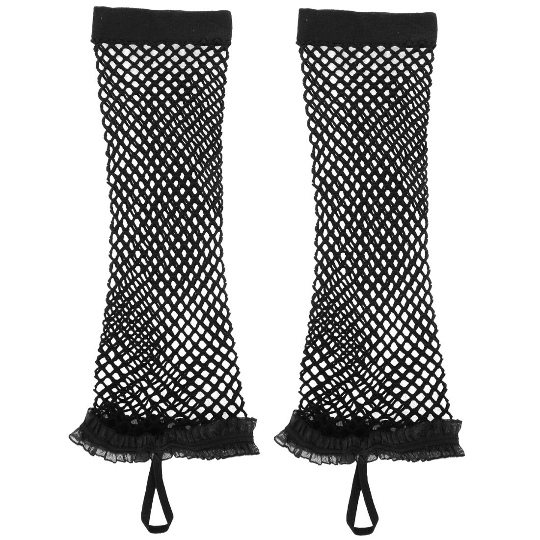 Woman Elbow Length Elastic Fishnet Chiffon Trimming Fingerless Arm Warmers Gloves Black Pair
