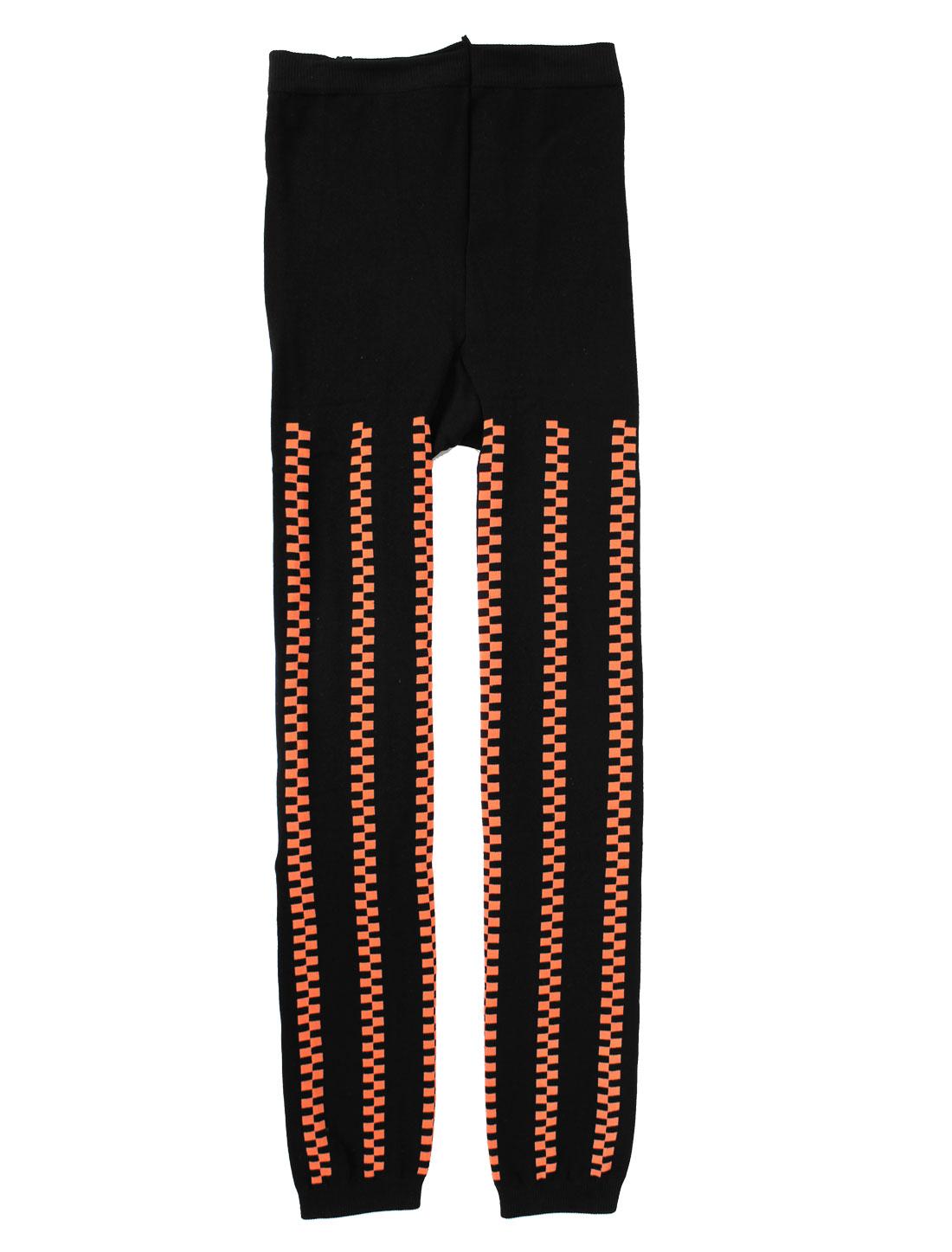 Lady Plaids Prints Elastic Waist Skinny Casual Leggings Warmer Black M