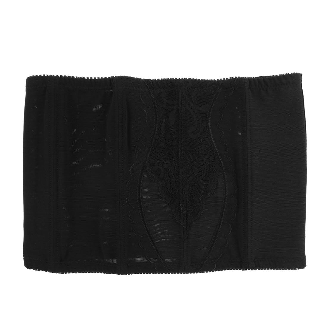 Lady Adjustable Stretchy Tummy Trimmer Corset Shapewear Waistband Cincher Black M