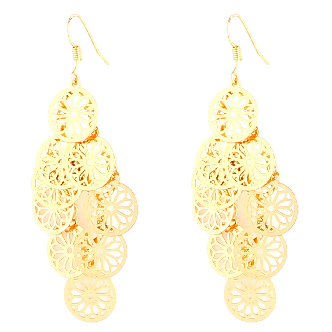 Woman Jewelry Round Hollow Pendant Fish Hook Dangle Earrings Gold Tone Pair