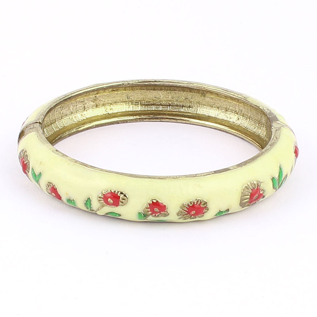 Woman Lady Spring Hinged Round Cuff Flower Pattern Enamel Bracelet Bangle Yellow