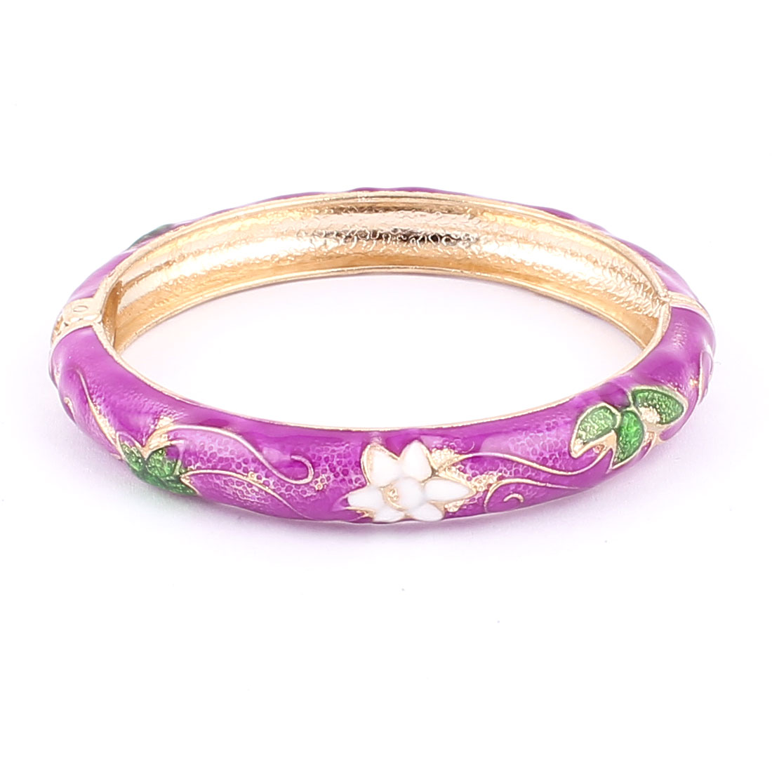 Woman Lady Spring Hinged Round Cuff Flower Carved Enamel Bracelet Bangle Fuchsia