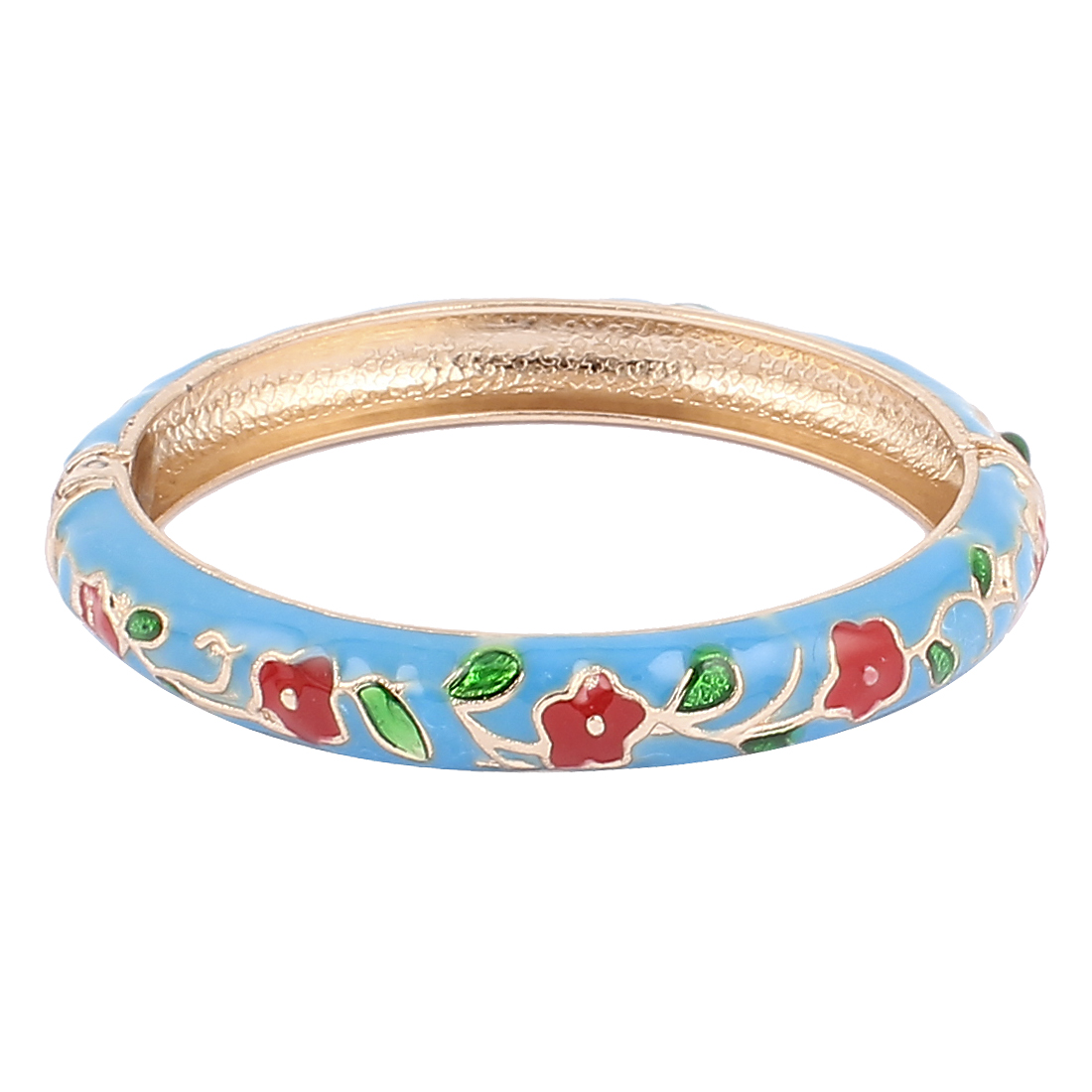 Woman Spring Hinged Round Cuff Flower Pattern Enamel Bracelet Bangle Teal Blue