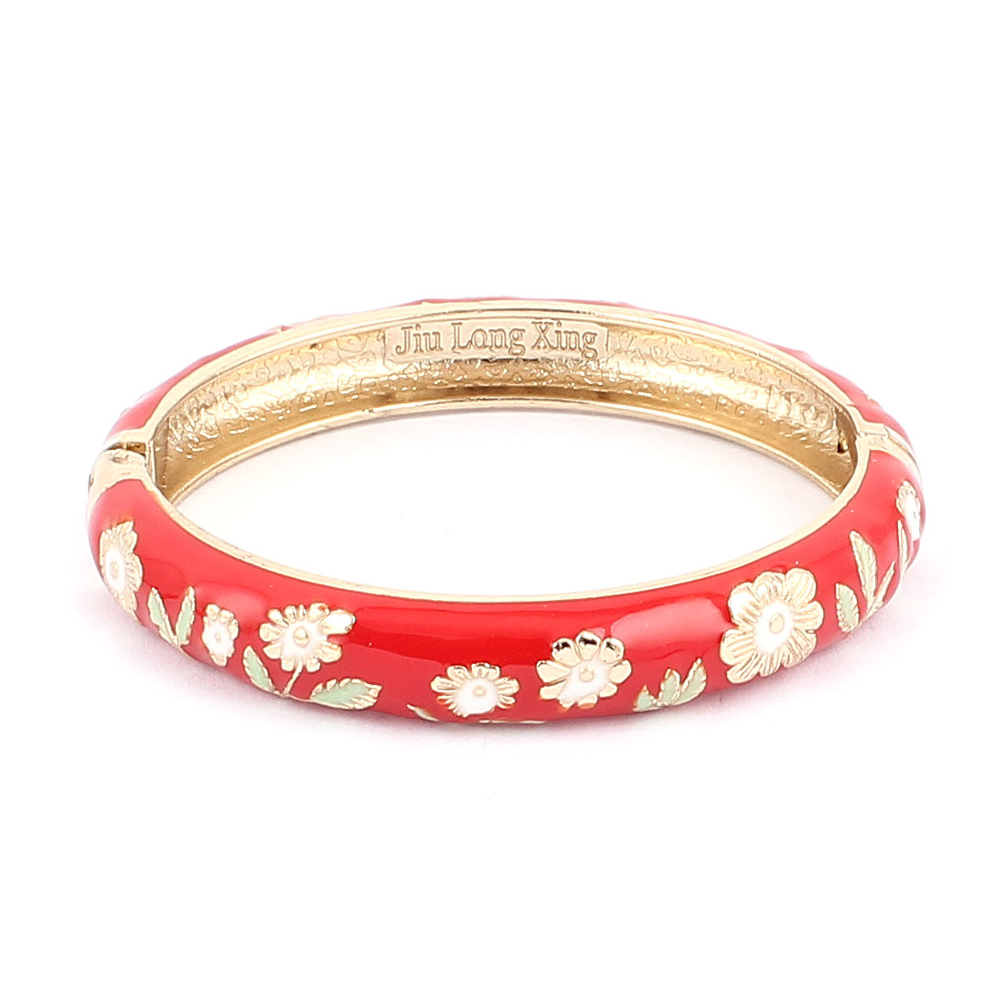 Woman Lady Spring Hinged Round Cuff Flower Pattern Enamel Bracelet Bangle Red
