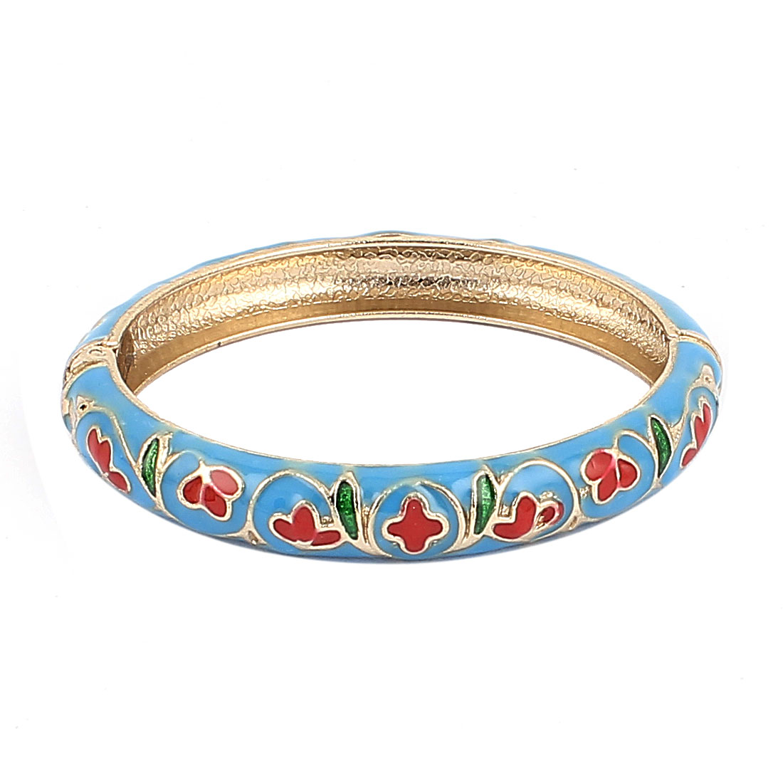 Woman Lady Spring Hinged Flower Pattern Enamel Cuff Bracelet Bangle Wristband Blue