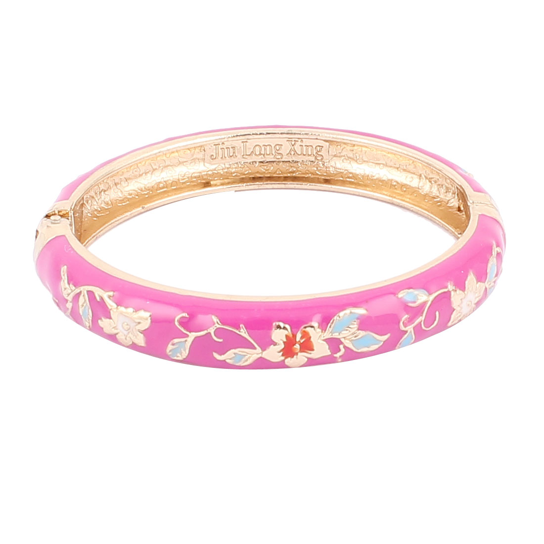 Woman Lady Spring Hinged Round Cuff Flower Pattern Enamel Bracelet Bangle Fuchsia