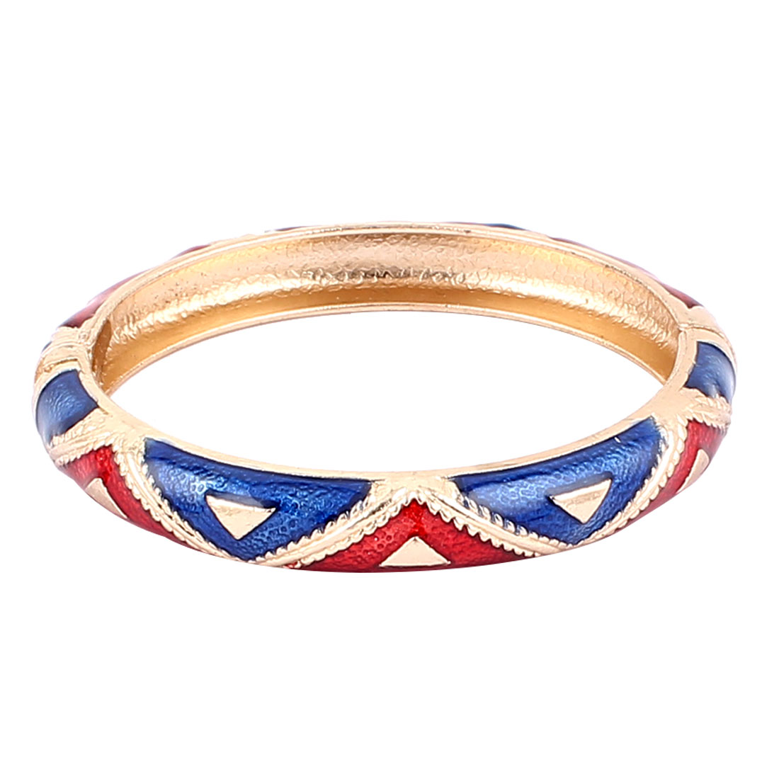 Woman Spring Hinged Round Cuff Triangle Pattern Enamel Bracelet Bangle Blue Red