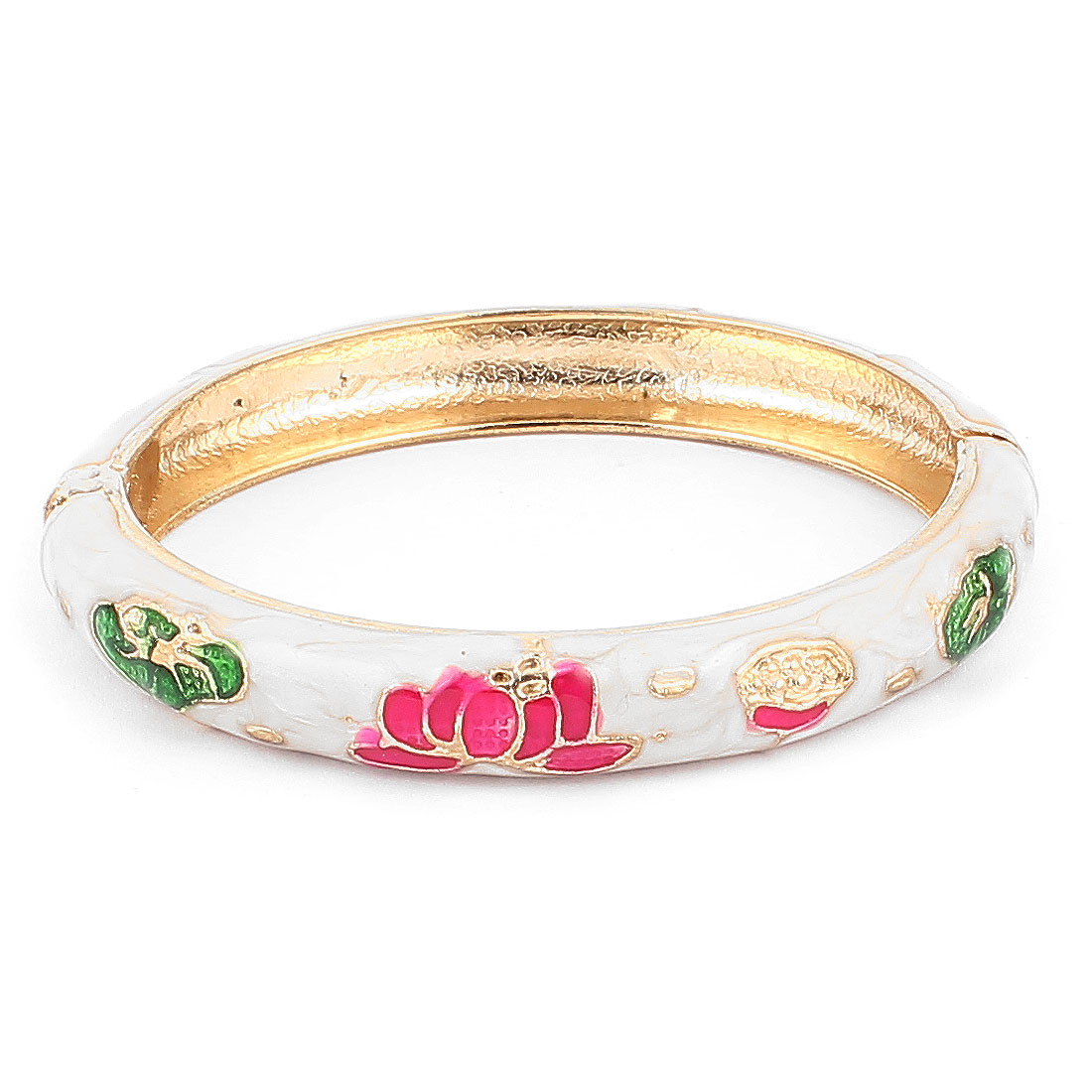 Woman Lady Spring Hinged Round Cuff Flower Pattern Enamel Bracelet Bangle White