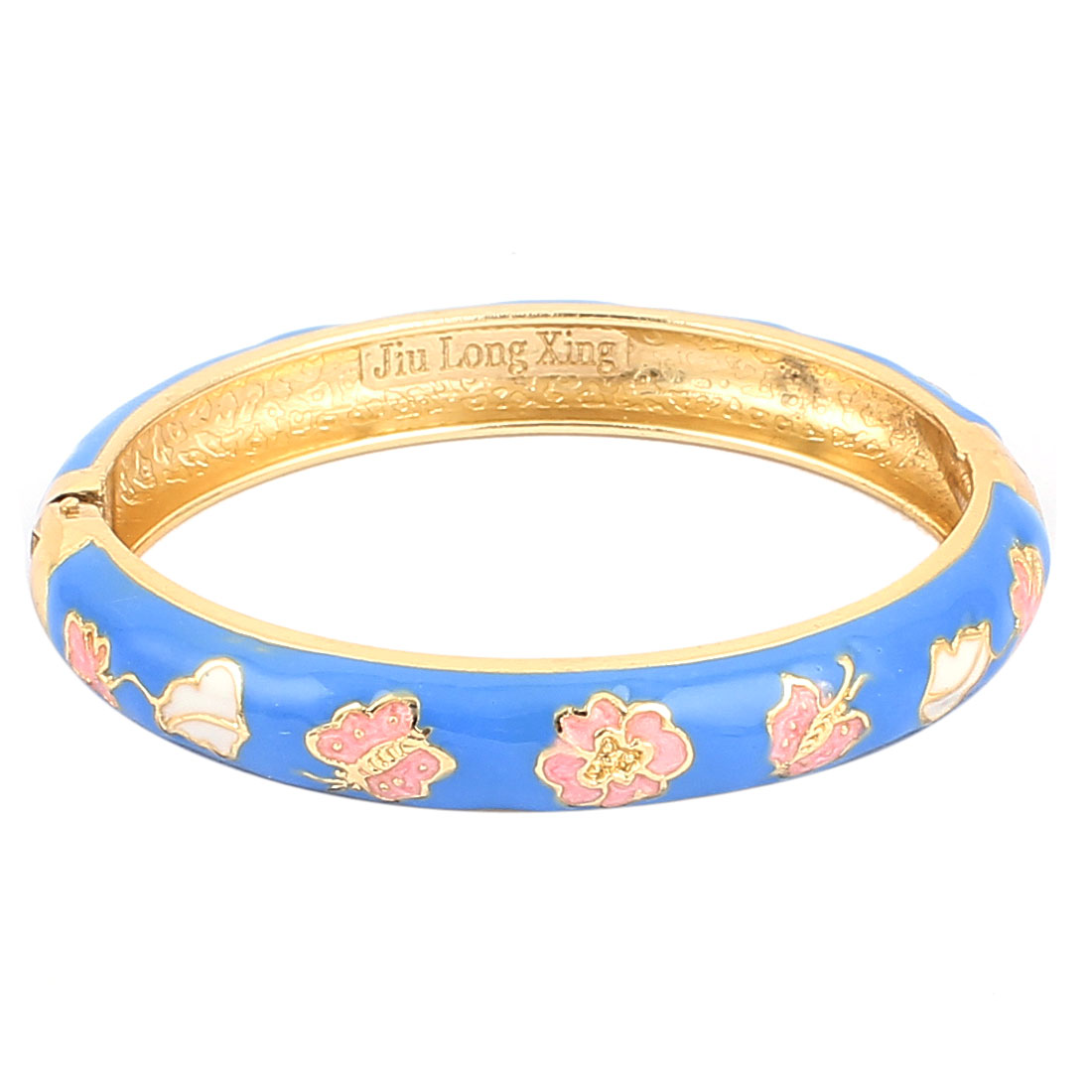 Woman Lady Spring Hinged Round Cuff Flower Carved Enamel Bracelet Bangle Blue