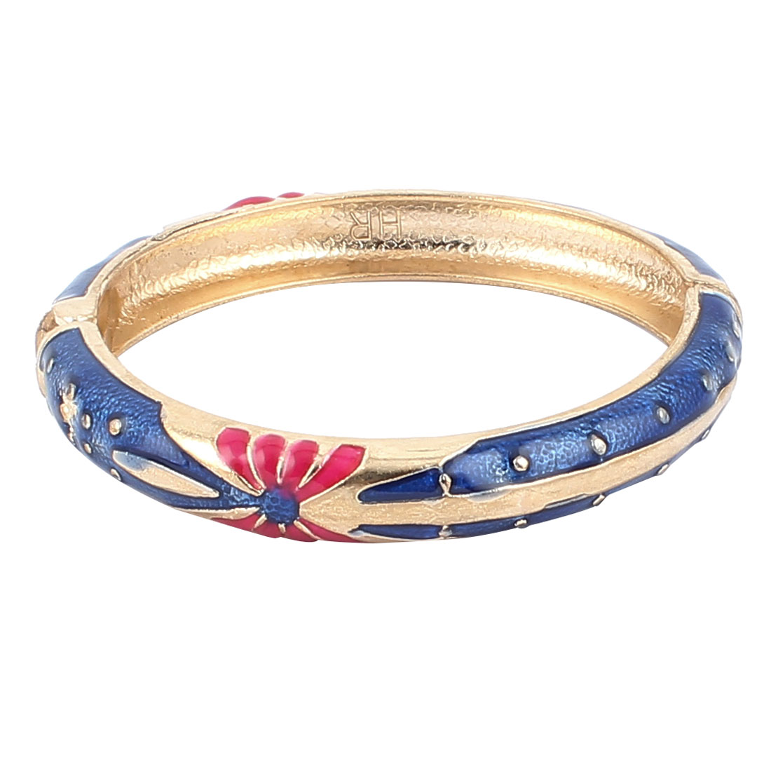 Lady Spring Hinged Round Cuff Butterfly Pattern Enamel Bracelet Bangle Royal Blue