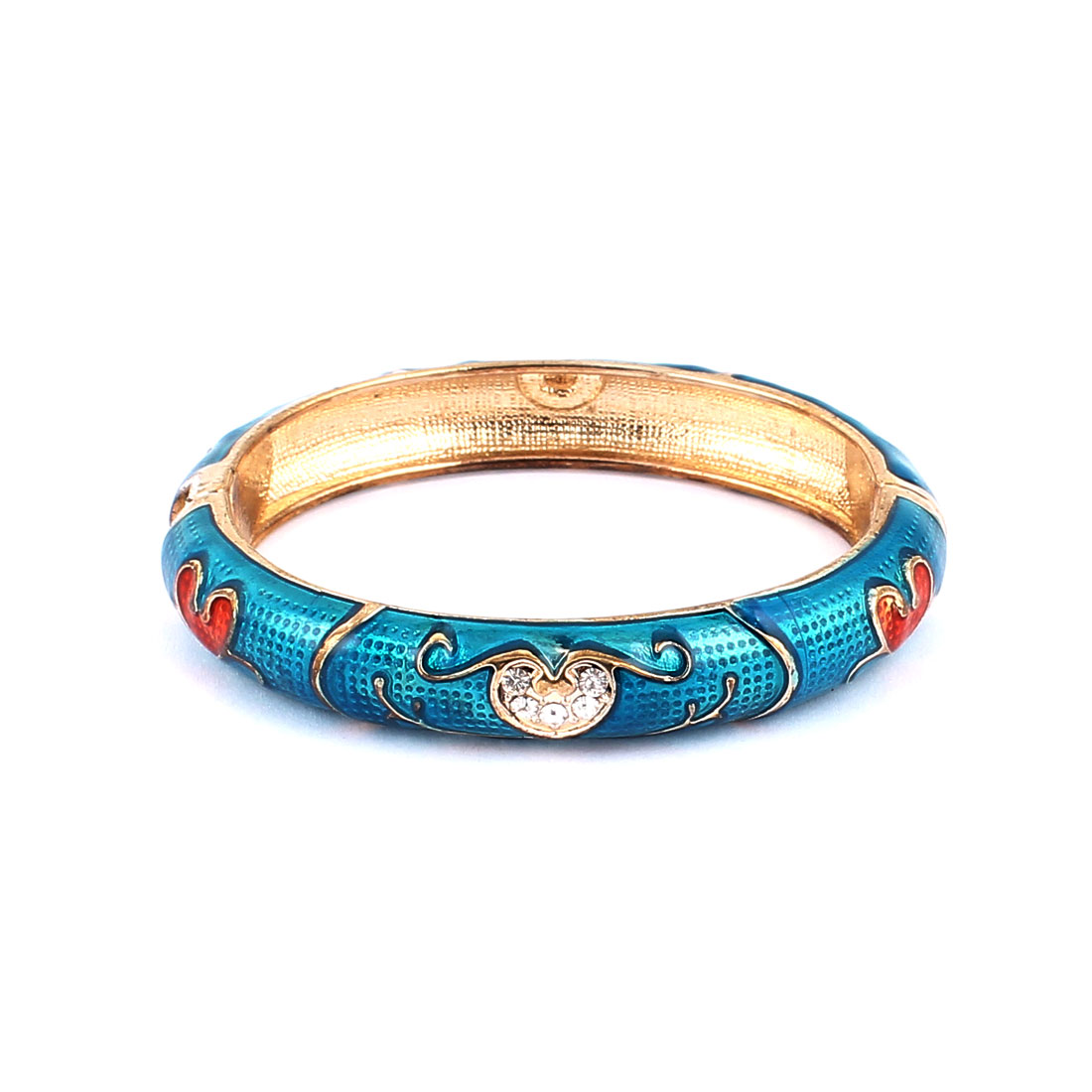 Woman Lady Jewelry Gift Oval Cuff Heart Carved Enamel Bracelet Bangle Teal Blue