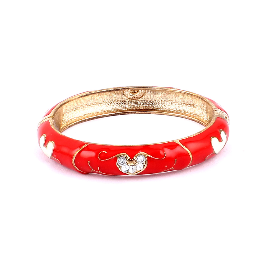 Woman Lady Jewelry Gift Oval Cuff Heart Carved Enamel Bracelet Bangle Red