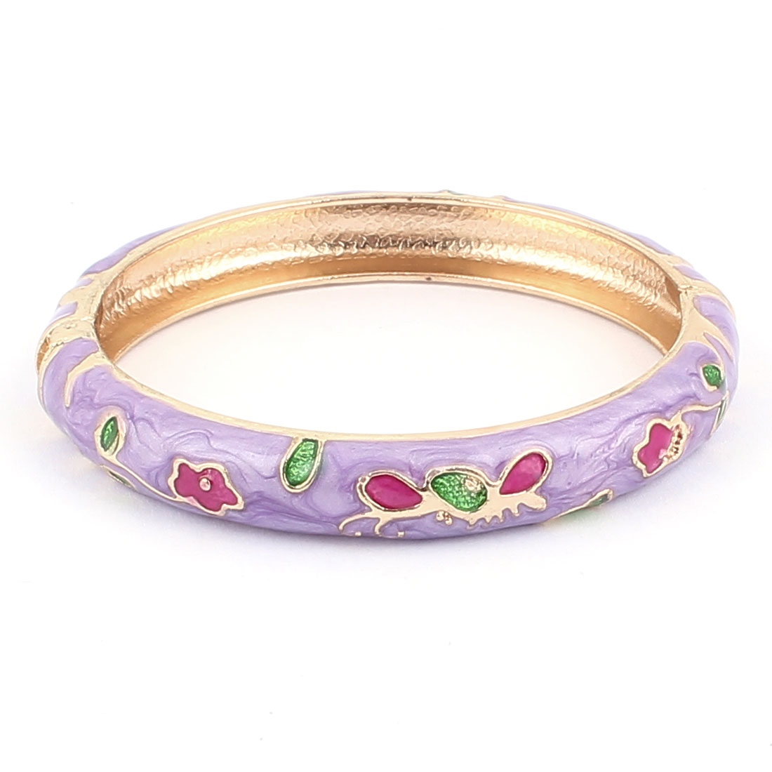 Woman Lady Spring Hinged Round Cuff Floral Pattern Enamel Bracelet Bangle Purple