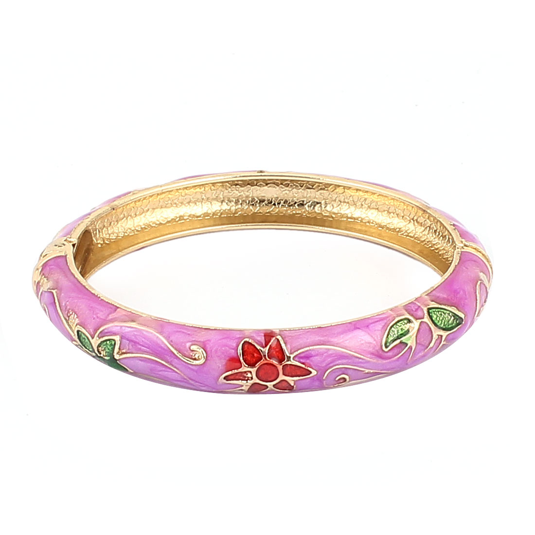 Woman Spring Hinged Round Cuff Flower Carved Enamel Bracelet Bangle Light Purple