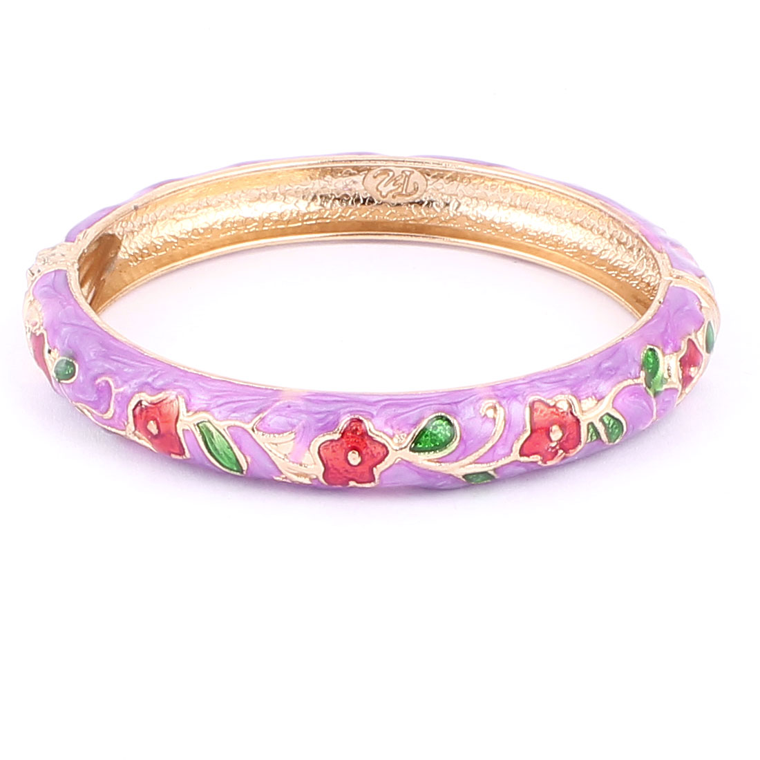 Lady Spring Hinged Round Cuff Flower Pattern Enamel Bracelet Bangle Light Purple