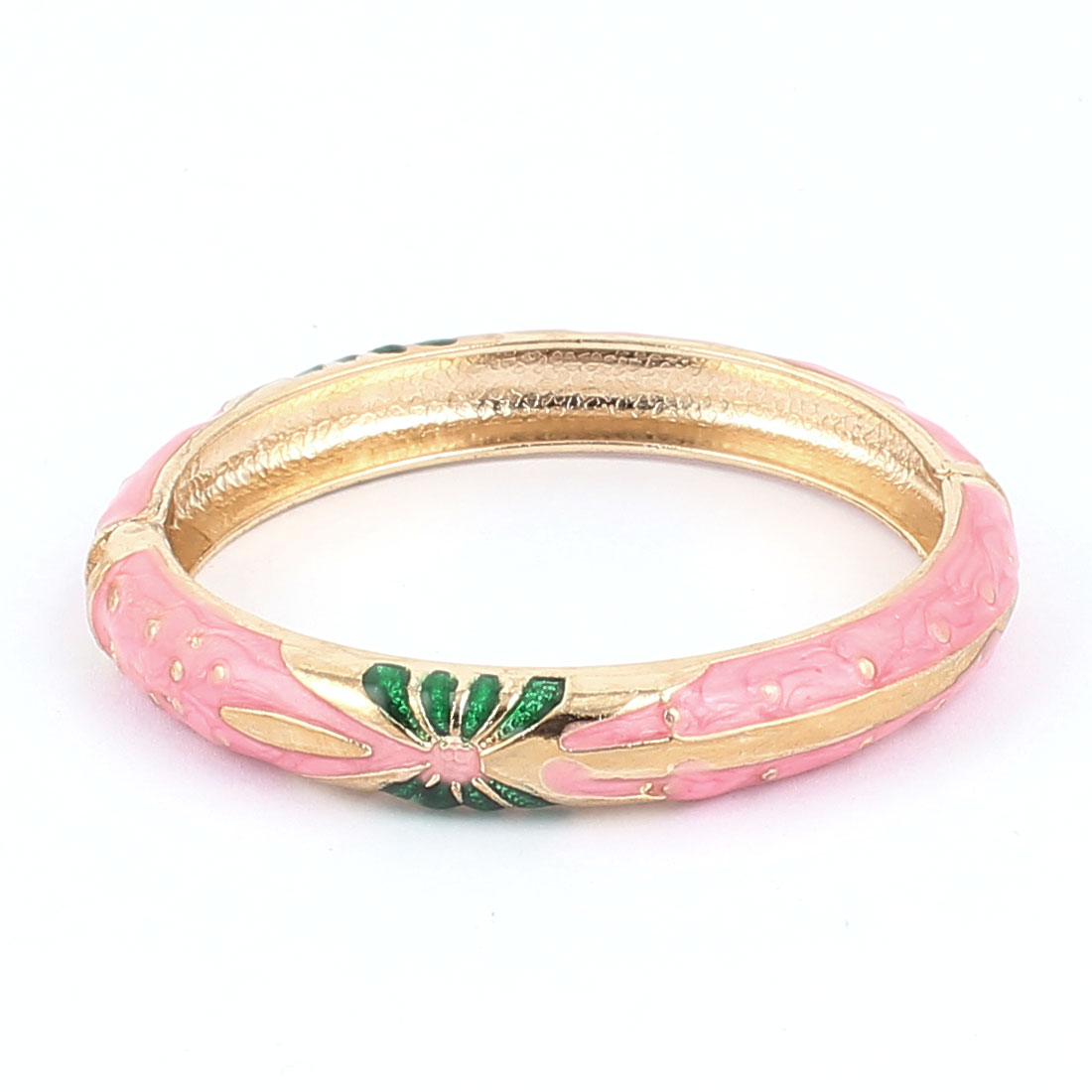 Woman Lady Spring Hinged Round Cuff Butterfly Pattern Enamel Bracelet Bangle Pink