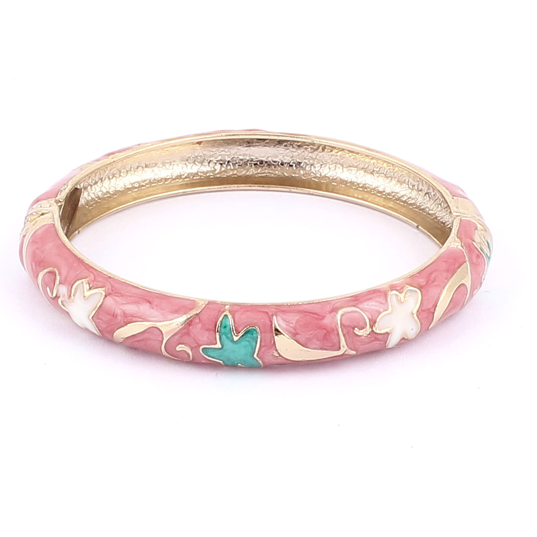 Woman Lady Spring Hinged Round Cuff Flower Pattern Enamel Bracelet Bangle Pink