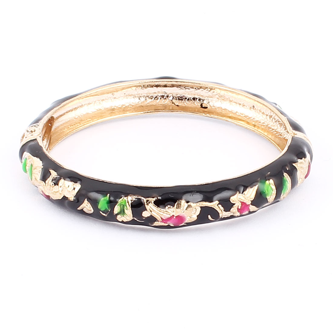 Woman Lady Spring Hinged Round Cuff Flower Pattern Enamel Bracelet Bangle Black