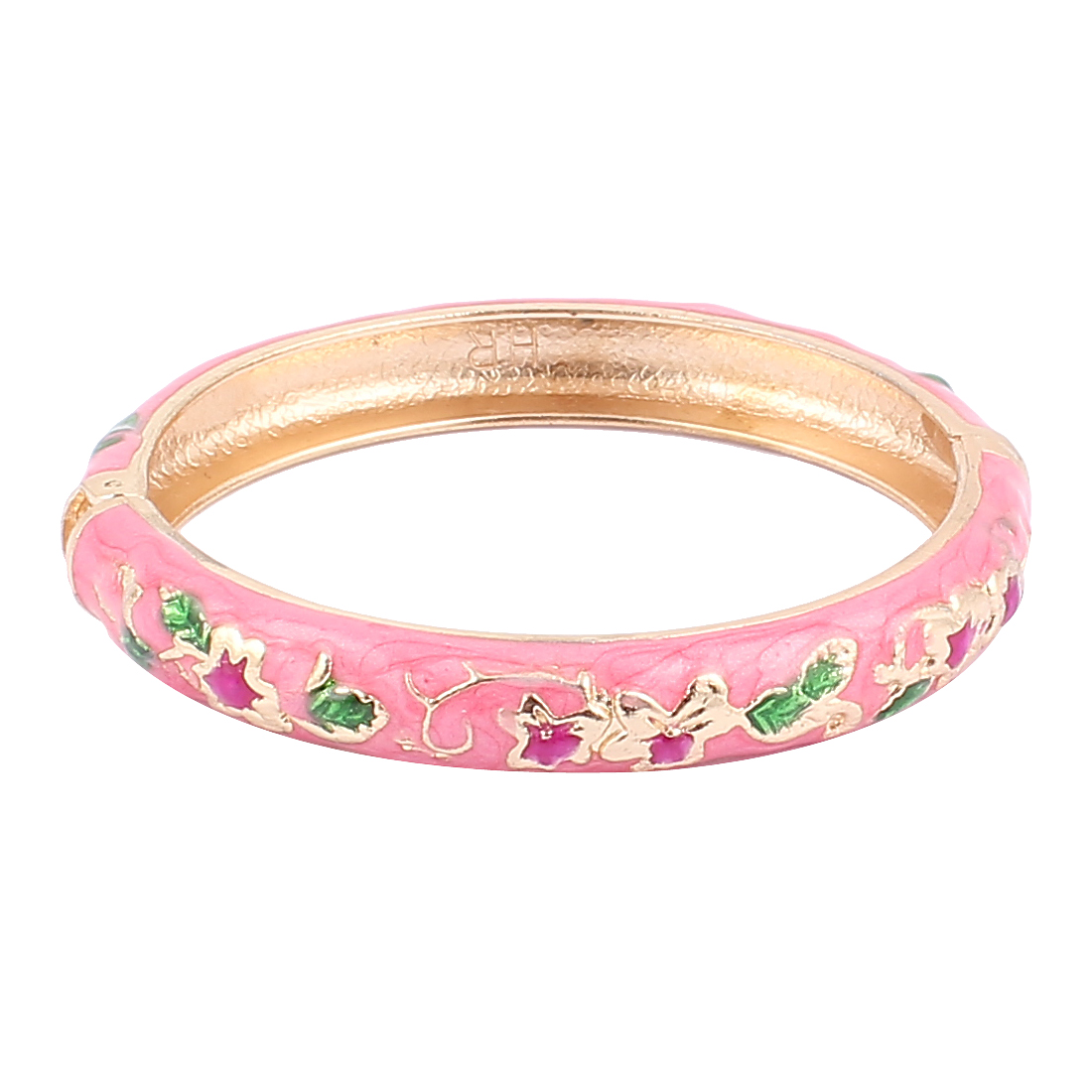 Woman Lady Spring Hinged Round Cuff Flower Carved Enamel Bracelet Bangle Pink