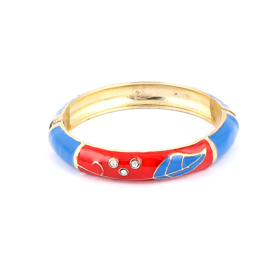 Woman Lady Spring Hinged Round Cuff Leaf Pattern Enamel Bracelet Bangle Blue Red