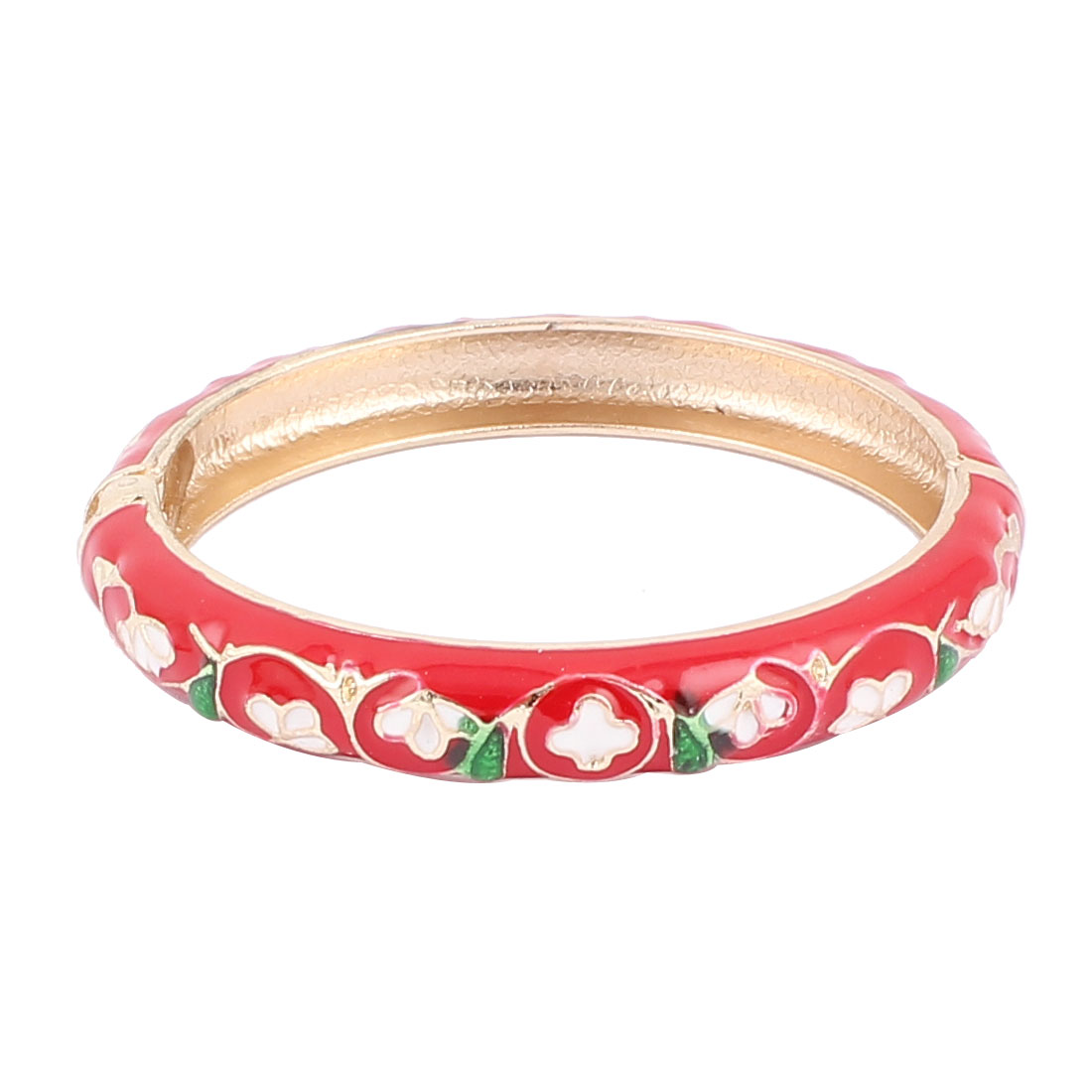Woman Lady Spring Hinged Round Cuff Floral Pattern Enamel Bracelet Bangle Red