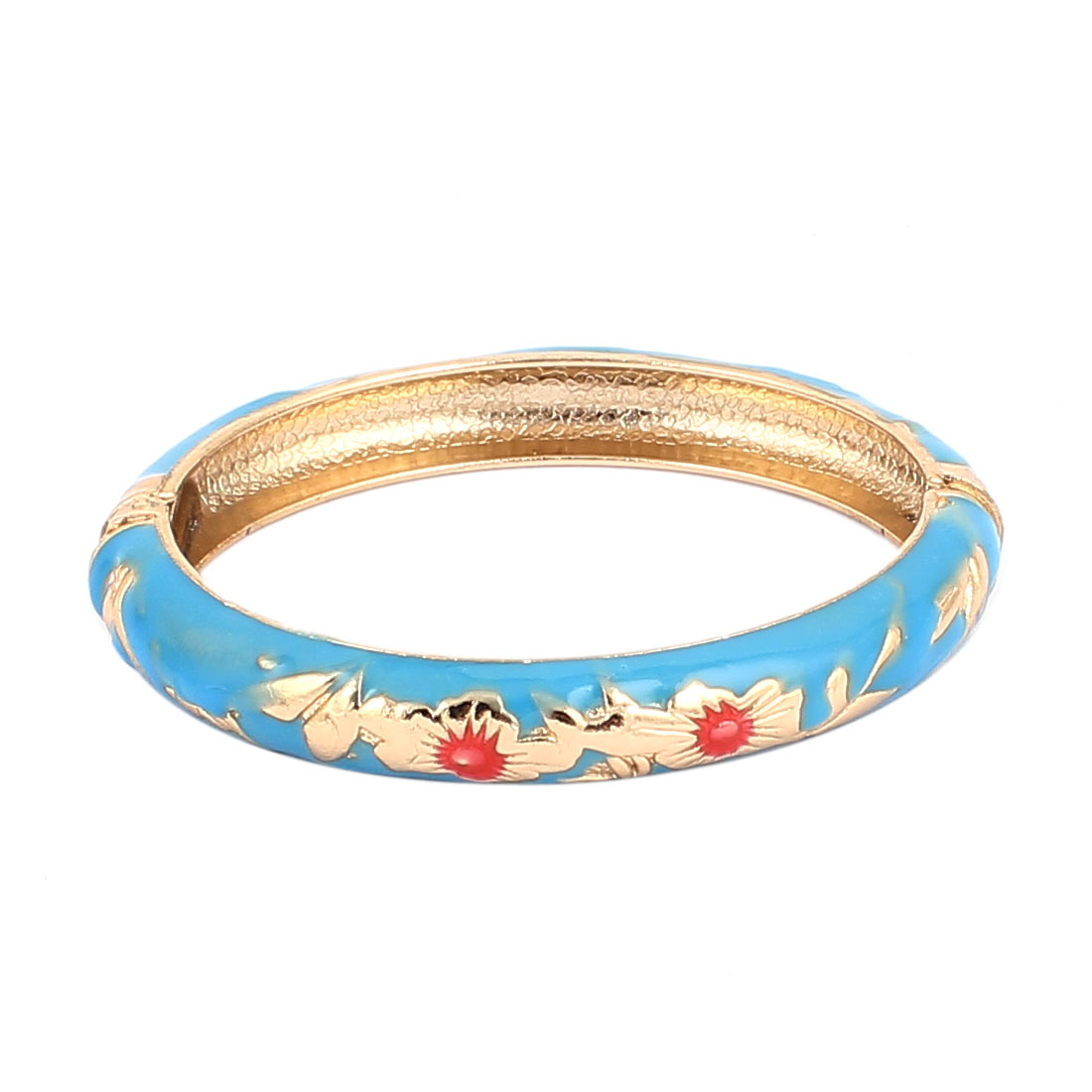 Woman Lady Spring Hinged Round Cuff Flower Pattern Enamel Bracelet Bangle Blue