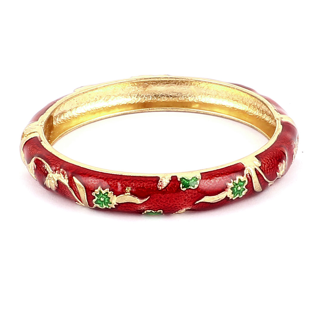Woman Lady Spring Hinged Round Cuff Flower Design Enamel Bracelet Bangle Red