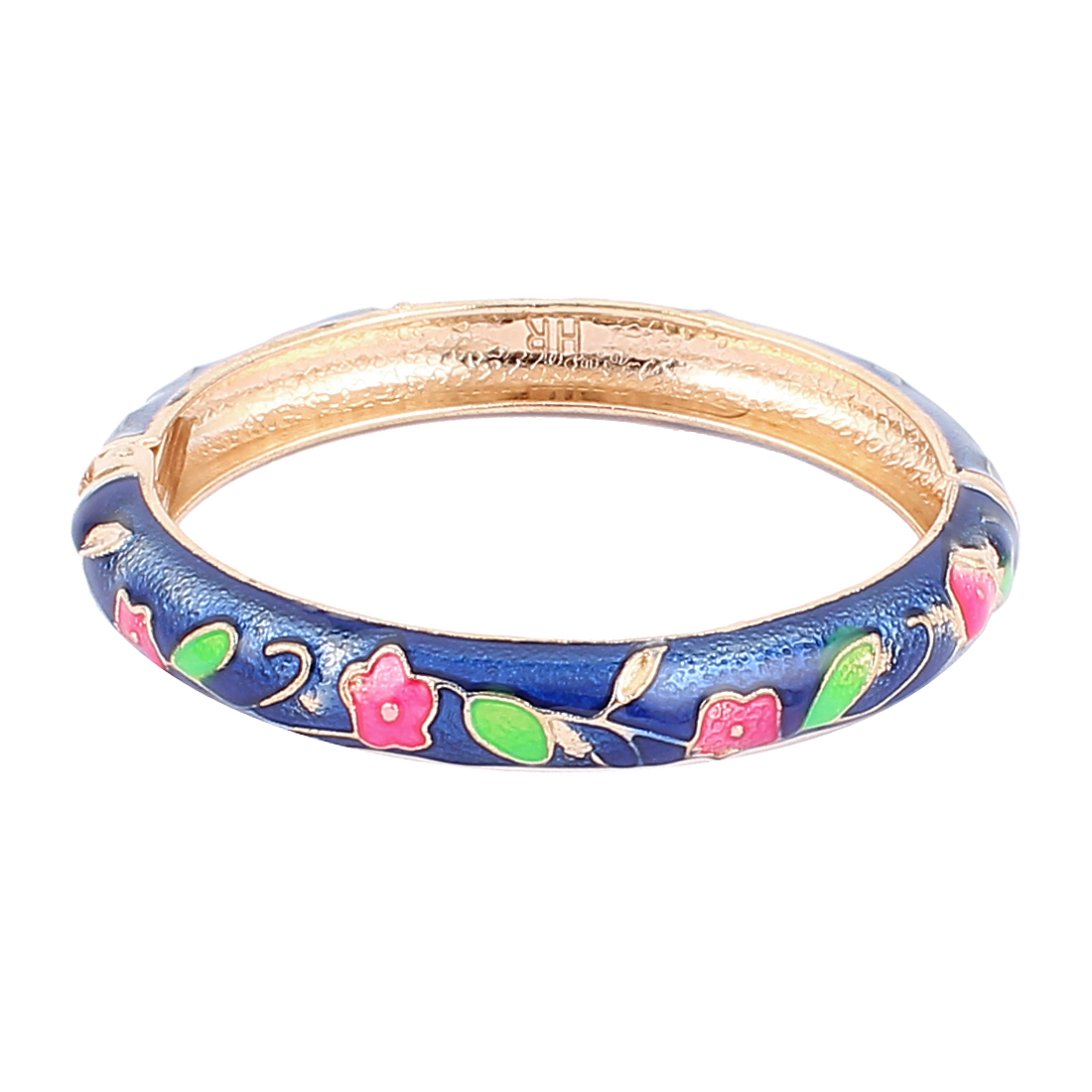 Lady Spring Hinged Round Cuff Flower Pattern Enamel Bracelet Bangle Royal Blue