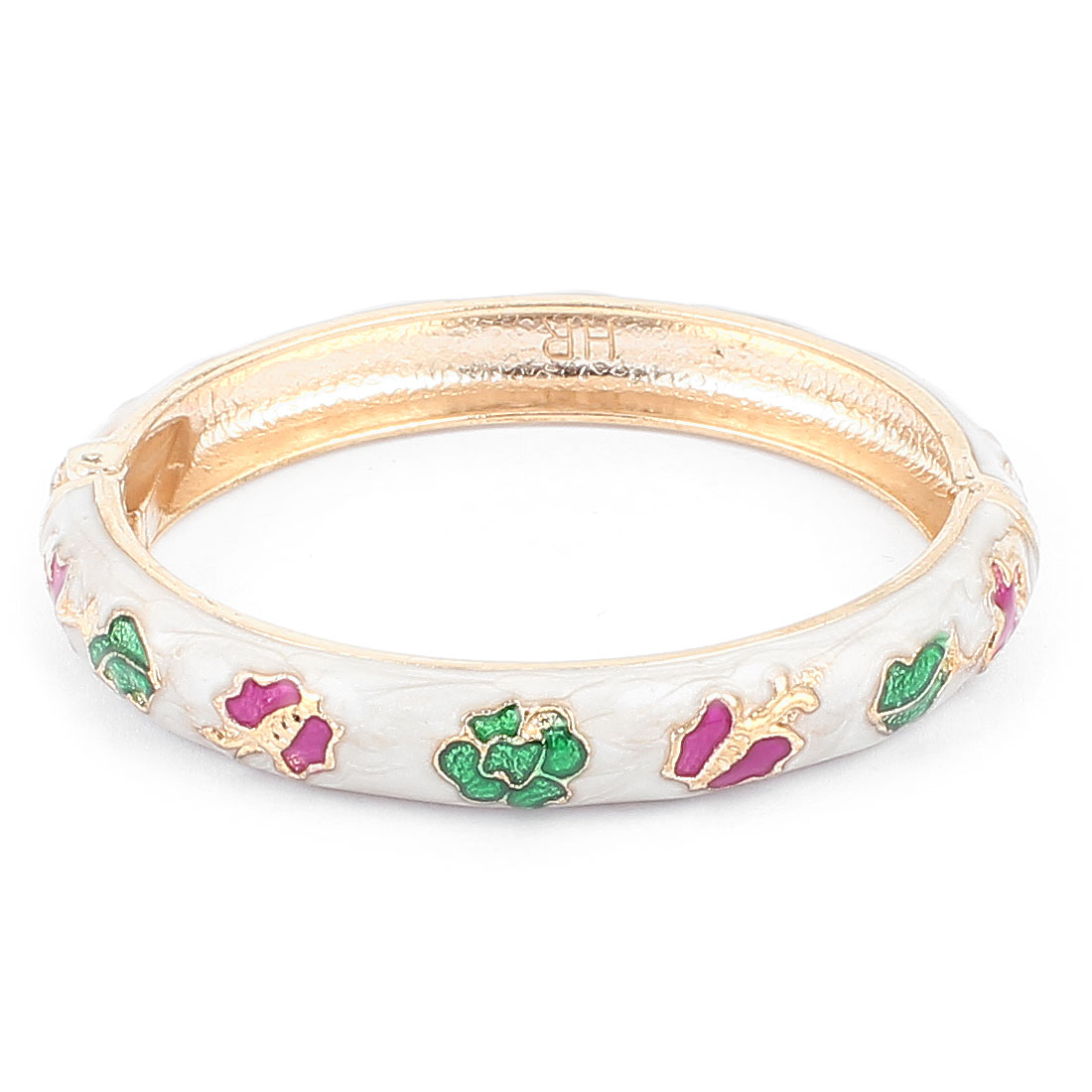 Woman Spring Hinged Round Cuff Flower Butterfly Pattern Enamel Bracelet Bangle White