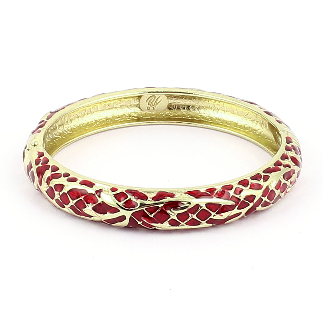 Woman Lady Spring Hinged Round Cuff Meshy Pattern Enamel Bracelet Bangle Red