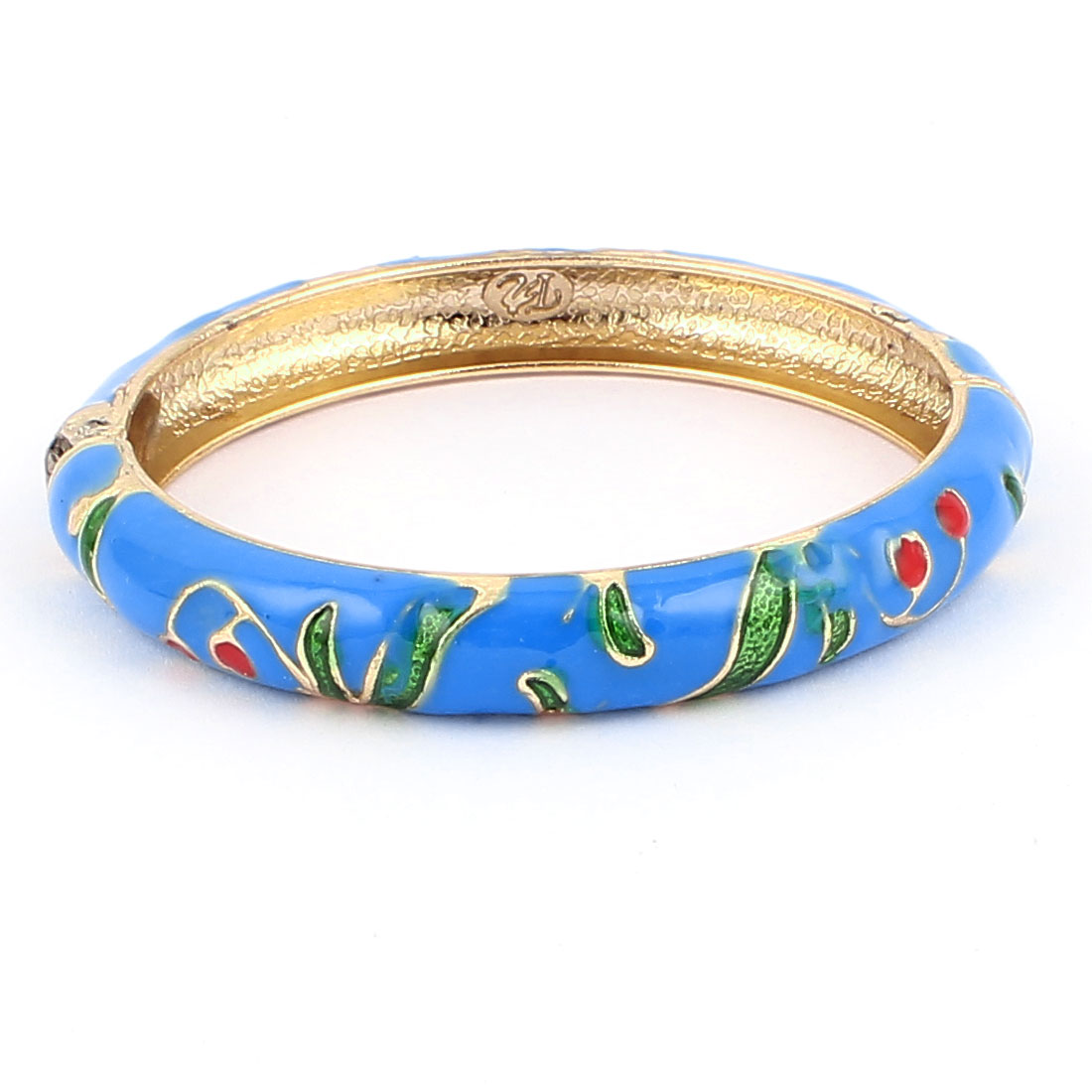 Woman Lady Spring Hinged Round Cuff Floral Pattern Enamel Bracelet Bangle Blue