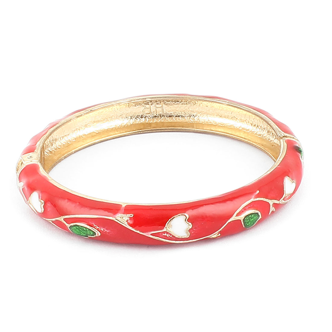 Woman Lady Spring Hinged Round Cuff Floral Carved Enamel Bracelet Bangle Red