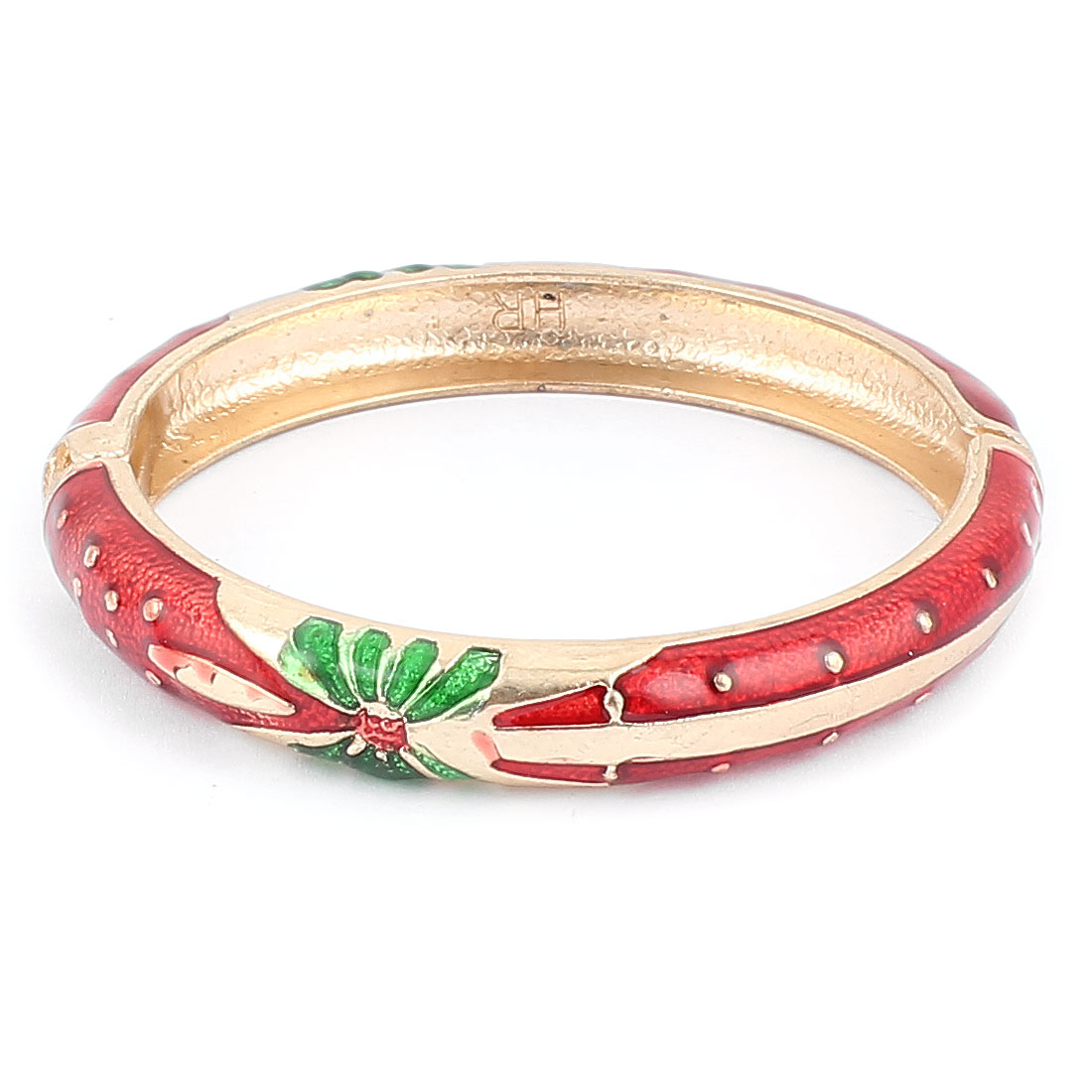 Woman Lady Spring Hinged Round Cuff Butterfly Pattern Enamel Bracelet Bangle Red