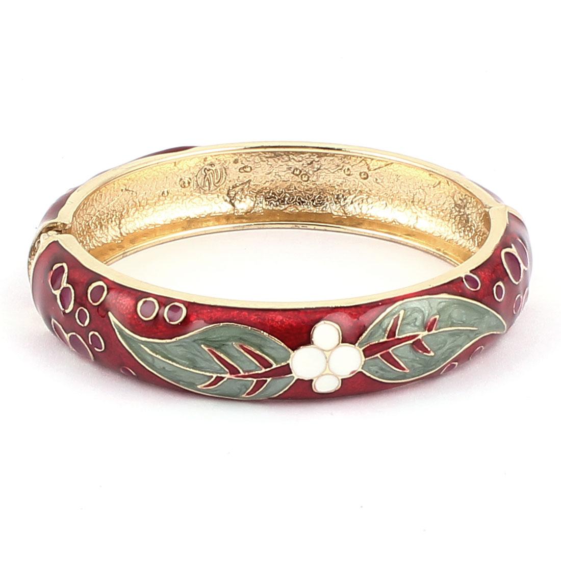 Woman Spring Hinged Floral Pattern Enamel Cuff Bracelet Bangle Wristband Red