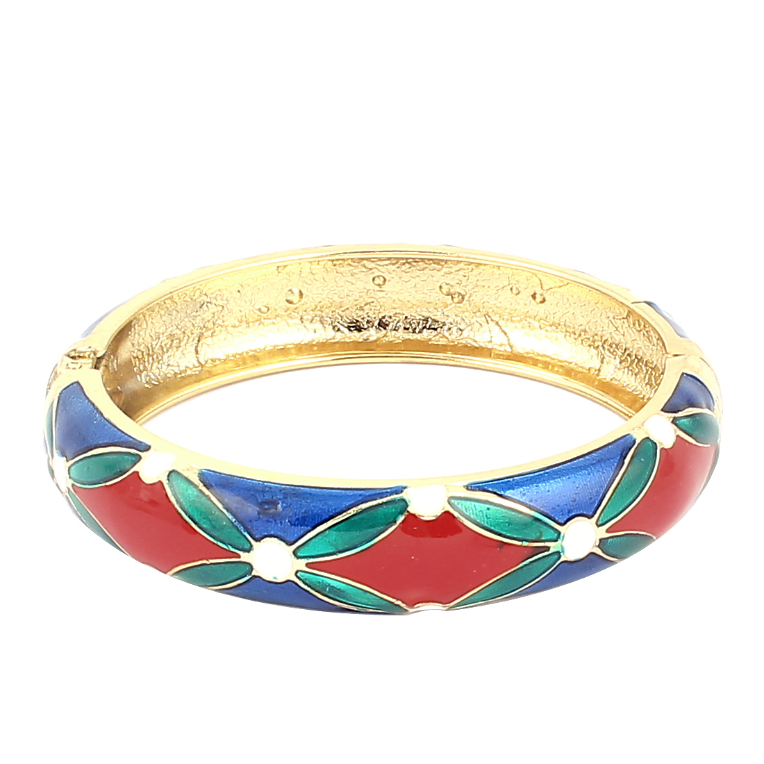 Woman Spring Hinged Round Cuff Rhombus Pattern Enamel Bracelet Bangle Colorful