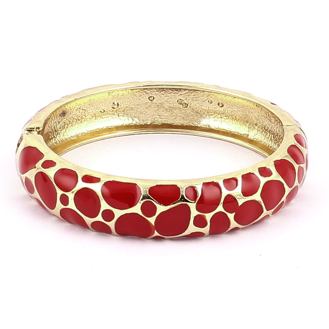 Woman Lady Spring Hinged Meshy Hole Pattern Enamel Cuff Bracelet Bangle Red