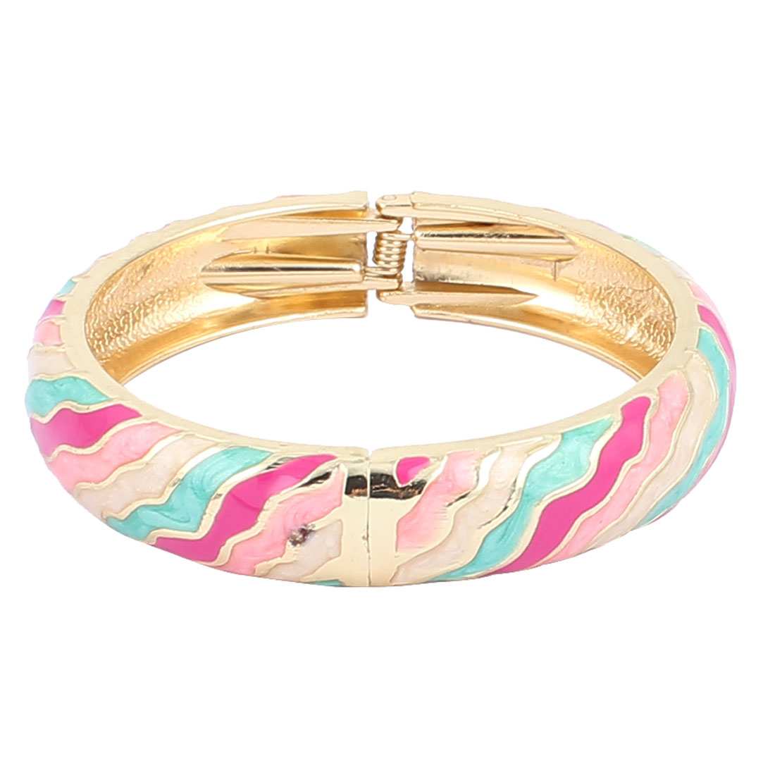 Woman Spring Hinged Round Cuff Striped Pattern Enamel Bracelet Bangle Colorful