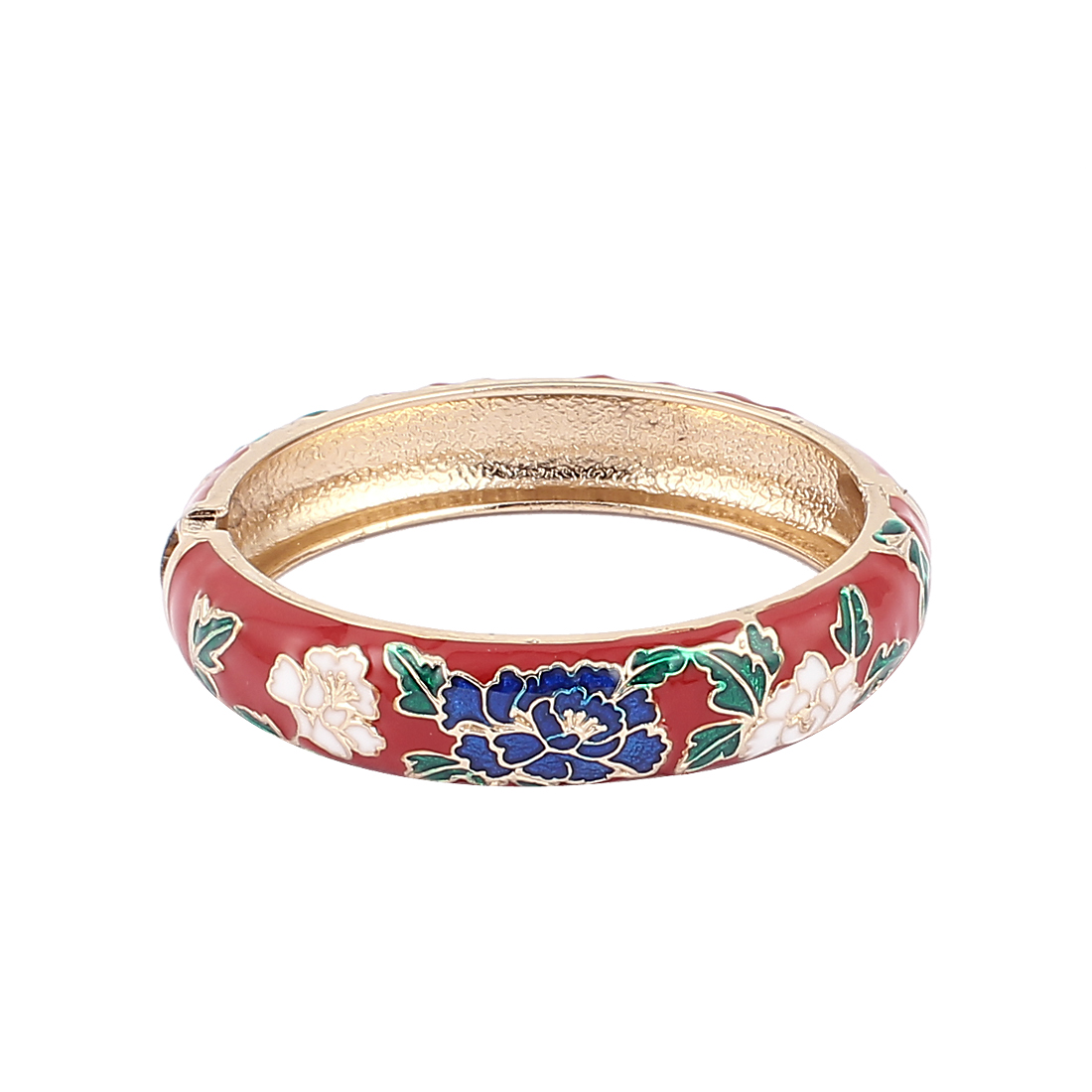 Woman Spring Hinged Round Cuff Flower Pattern Enamel Bracelet Bangle Wristband Red